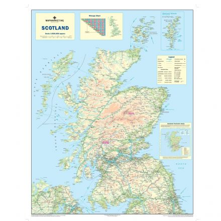 Scotland Road Map - Laminated Wall Map of Scotland